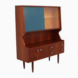 Vintage Teak Storage Cabinet with a Blue Sliding Door, 1960s