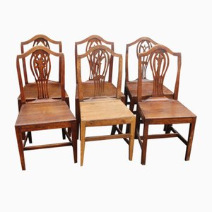 Oak Harlequin Dining Chairs with Camel Back, 1850s, Set of 6