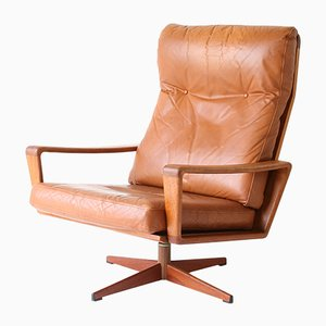 Mid-Century Tan Leather Swivel Chair by Arne Wahl Iversen for Komfort, 1960s