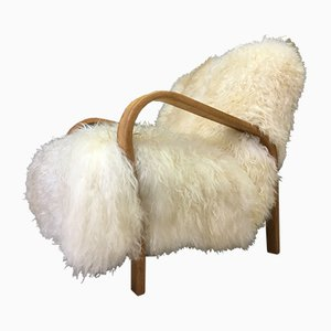White Sheepskin and Bentwood Model HF11 Armchair by Jindřich Halabala, 1940s