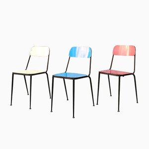 Blue, Yellow, and Red Laminate Dining Chairs, 1950s, Set of 40