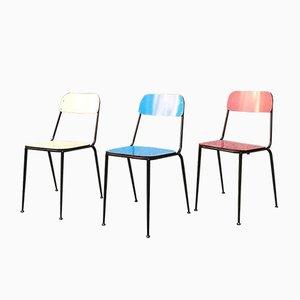 Laminat Esszimmerstühle in Blau, Gelb und Rot, 1950er, Set of 40