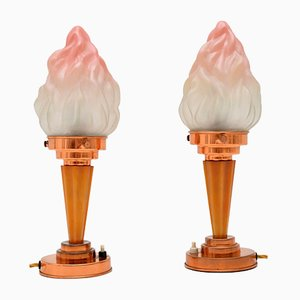 Art Deco Bakelite and Glass Table Lamps, 1930s, Set of 2