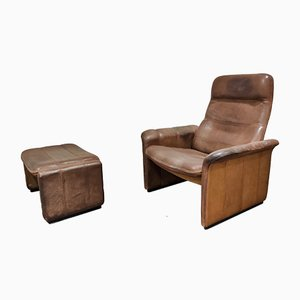 Vintage Leather Model DS50 Lounge Chair and Ottoman Set from de Sede, 1970s