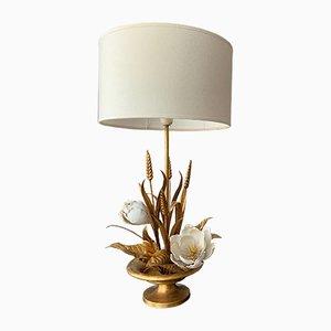 Vergoldete Mid-Century Blumen- und Weizenbündel Tischlampe