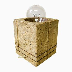 Würfelförmige Tischlampe aus Travertin von Signa, 1960er