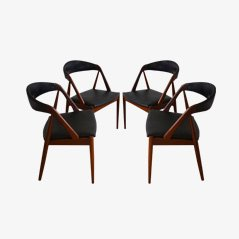 Model No. 31 Mid Century Dining Chairs in Teak & Skai by Kai Kristiansen, Set of 4