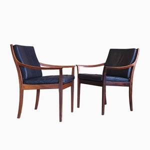 Norwegian Rosewood and Leather Armchairs by Torbjørn Afdal for Bruksbo, 1970s, Set of 2