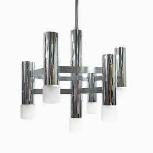 Vintage Chrome 7-Light Chandelier by Gaetano Sciolari, 1970s
