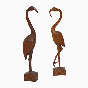 Carved Teak Flamingo Sculptures, Denmark, 1960s, Set of 2
