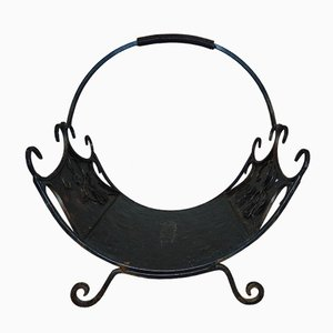 Vintage Industrial Forged Iron Fireplace Stand, 1970s