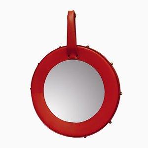 Vintage Red Round Mirror