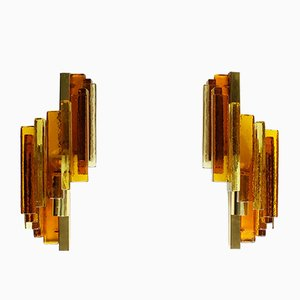 Mid-Century Amber Glass Sconces by Svend Aage Holm Sørensen for Hassel & Teudt, Set of 2