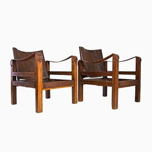 Mid-Century French Leather Safari Lounge Chairs, 1950s, Set of 2