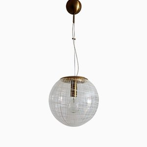 Vintage Murano Glass and Brass Globe Pendant Lamp, 1970s