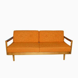 Mid-Century Orange Floral Sofa