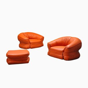 Italian Lounge Chairs and Ottoman Set by Adriano Piazzesi for 3D, 1970s, Set of 3