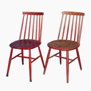 Mid-Century Red Dining Chairs in the Style of Tapiovaara, Set of 2