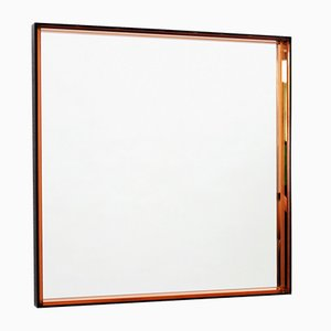 Vintage Square Pink Glass and Metal Wall Mirror, 1960s