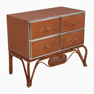 Rattan, Bamboo, Brass and Chrome Chest of Drawers from Vivai del Sud, 1970s