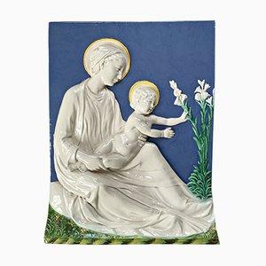 Antike Italienische Keramik Madonna mit Kind Skulptur von Ulisse Cantagalli