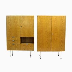 Mid-Century Eschenholz Kleiderschränke von Jitona, 1960er, 2er Set