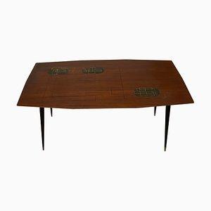 Mid-Century Italian Silk Screened Wooden Coffee Table, 1960s