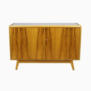 Black Glass Top Sideboard by Bohumil Landsman for Jitona, 1960s