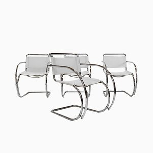 Bauhaus Leather Dining Chairs Attributed to Ludwig Mies van der Rohe for Fasem, 1970s, Set of 4