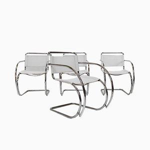 Bauhaus Leder Esszimmerstühle von Ludwig Mies van der Rohe für Fasem, 1970er, 4er Set