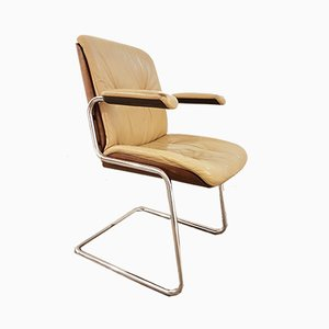 Vintage Wood and Leather Desk Chair by Martin Stoll for Giroflex, 1970s