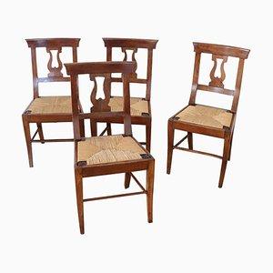 Antike Nussholz Esszimmerstühle, 4er Set