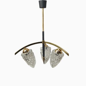 Large Mid-Century Brass Spider Ceiling Lamp, 1950s