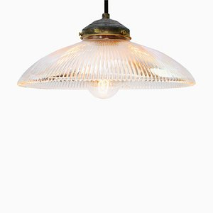 Vintage American Industrial Holophane Glass Pendant Lamp