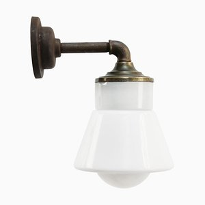Vintage White Opaline Glass, Brass & Cast Iron Arm Wall Light