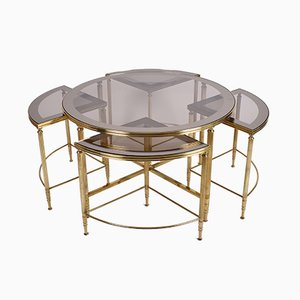 French Brass Nesting Tables from Maison Jansen, 1970s, Set of 5