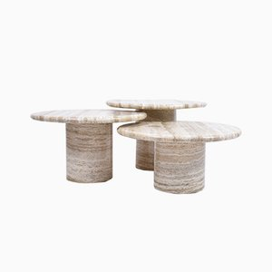 Round Cream Travertine Nesting Tables, 1970s, Set of 3