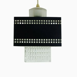 Glass and Back Perforated Metal Ceiling Lamp, 1960s