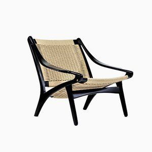 Danish Modern Black Lacquered Beech Lounge Chair by Illum Wikkelsø for Niels Eilersen, 1950s