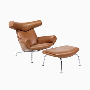 Cohiba Leather Ox Lounge Chair and Ottoman Set by Hans J. Wegner for Carl Hansen & Søn, 2011