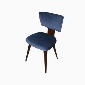 Chaises de Salon Mid-Century en Velours Bleu, Pays-Bas, Set de 3