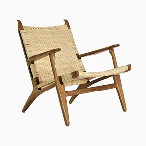 Oak and Cane Model CH-27 Lounge Chairs by Hans J. Wegner for Carl Hansen & Søn, 1950s, Set of 2