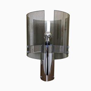 Italienische Glas und Stahl Tischlampe, 1970er