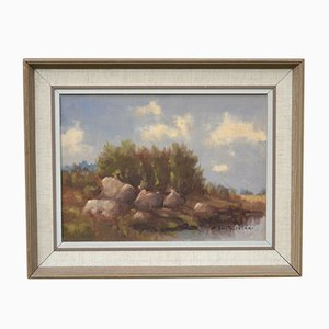 Mid-Century Framed Landscape Oil Painting by A.B.Fursten