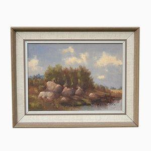 Mid-Century Framed Landscape Oil Painting by A.B.Fursten