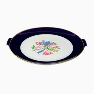 Gold, Blue, and Pink Porcelain Serving Platter from Rosenthal, 1950s