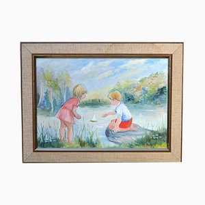 Mid-Century Framed Summer Landscape Oil Painting