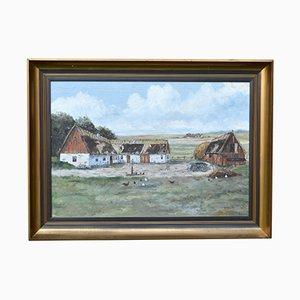 Mid-Century Farm Motif Landscape Oil Painting by R. Lundkvist