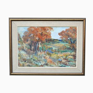 Mid-Century Framed Autumn In The Country Oil Painting