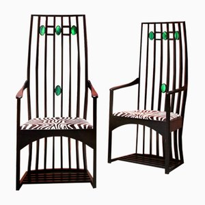 Vintage High Back Armchairs in the Style of Charles Rennie Mackintosh, Set of 2